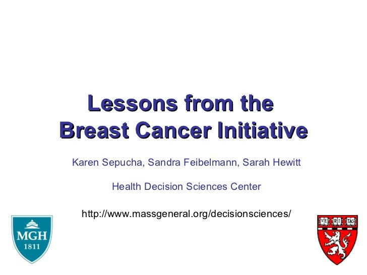 Lessons from theBreast Cancer Initiative Karen Sepucha, Sandra Feibelmann, Sarah Hewitt         Health Decision Sciences C...