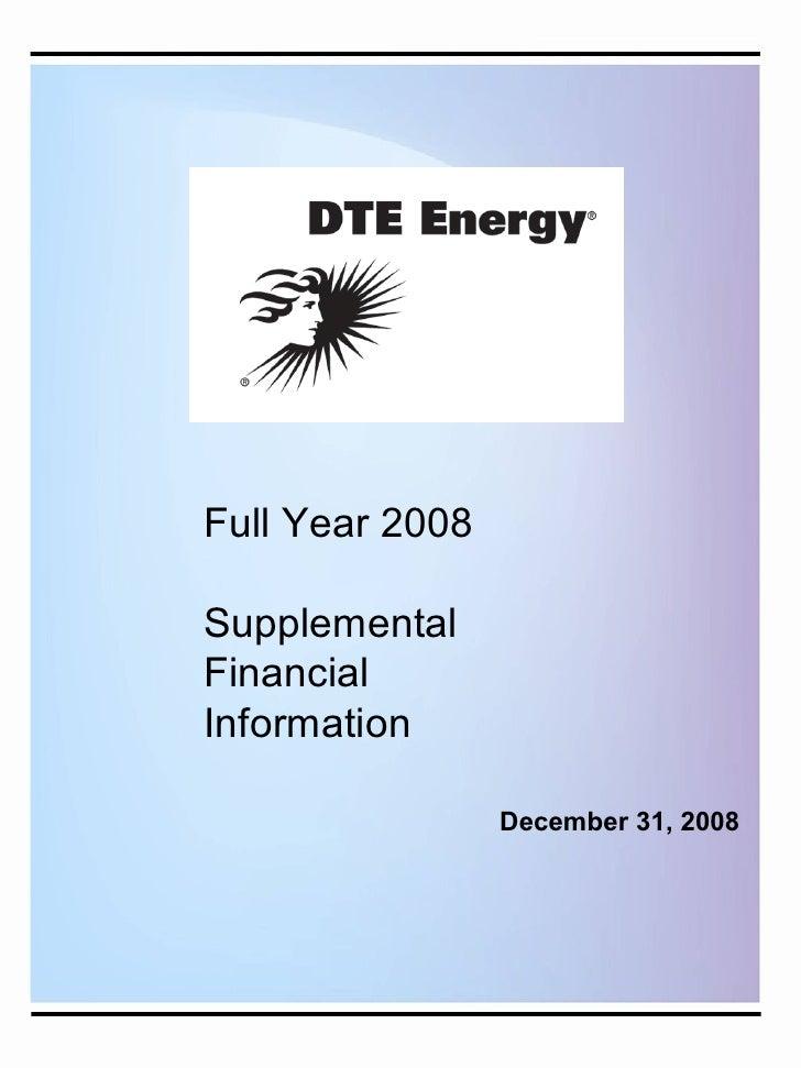 Full Year 2008  Supplemental Financial Information                   December 31, 2008