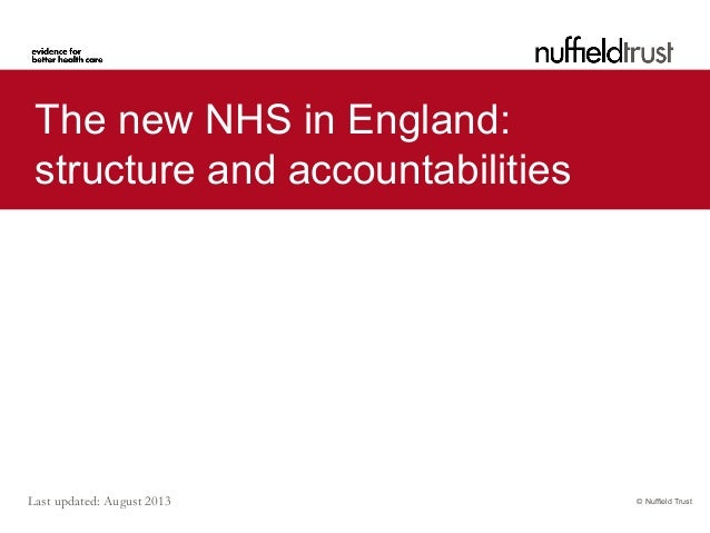 Last updated: August 2013 © Nuffield Trust The new NHS in England: structure and accountabilities