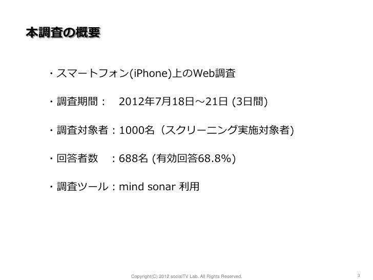 本調査の概要 ・スマートフォン(iPhone)上のWeb調査 ・調査期間: 2012年7月18日~21日 (3日間) ・調査対象者:1000名(スクリーニング実施対象者) ・回答者数 :688名 (有効回答68.8%) ・調査ツール:mind ...