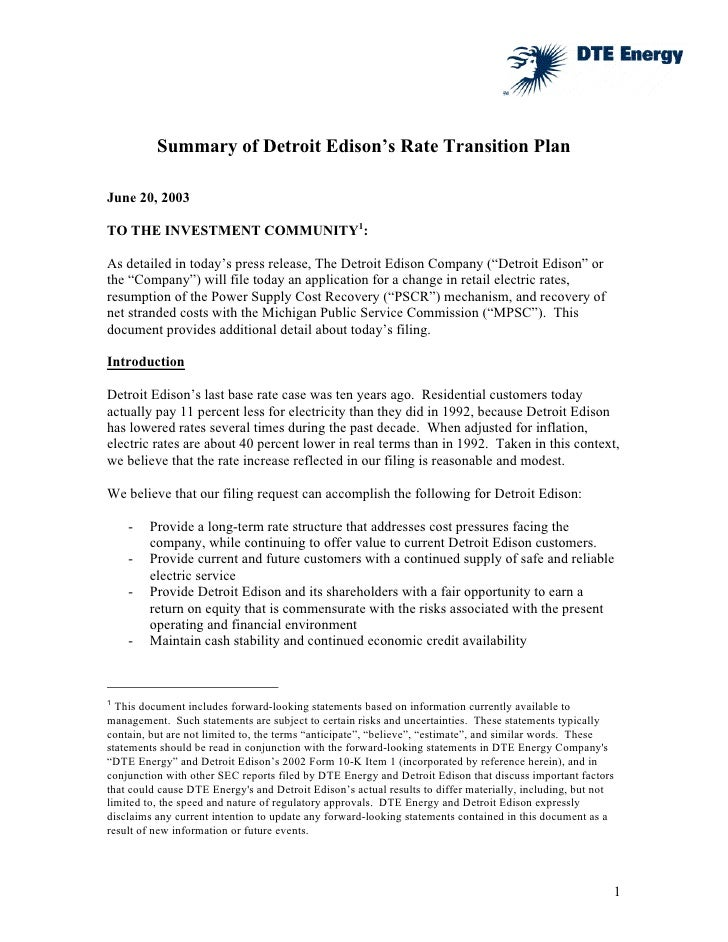 Summary of Detroit Edison's Rate Transition Plan  June 20, 2003  TO THE INVESTMENT COMMUNITY1:  As detailed in today's pre...