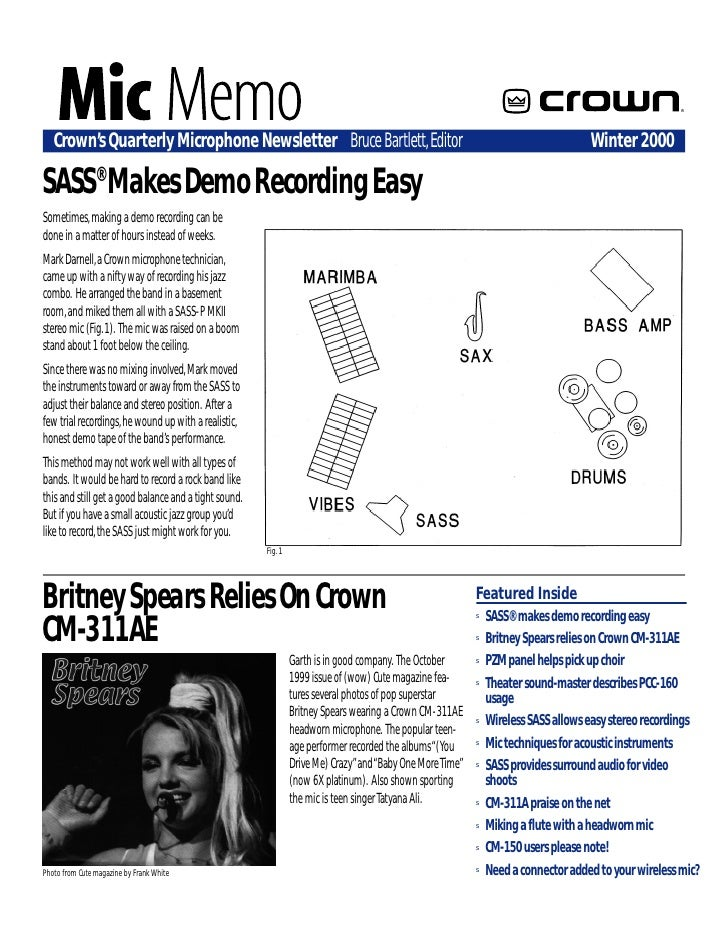 ®        Crown's Quarterly Microphone Newsletter Bruce Bartlett, Editor                                                   ...
