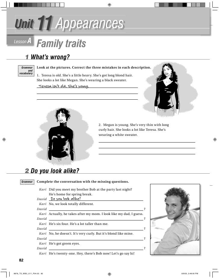 11 Appearances Unit Lesson A                Family traits        1 What's wrong?                Look at the pictures. Corr...