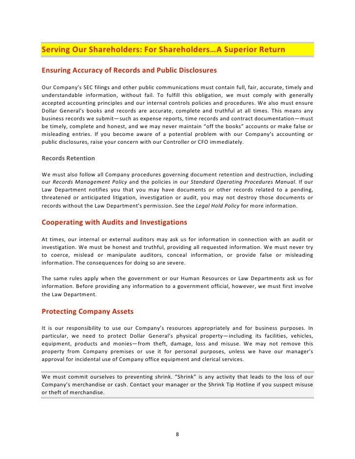dollar general codeofethics2008 rh slideshare net Standard Operating Procedures Art Manufacturing Standard Operating Procedure Template