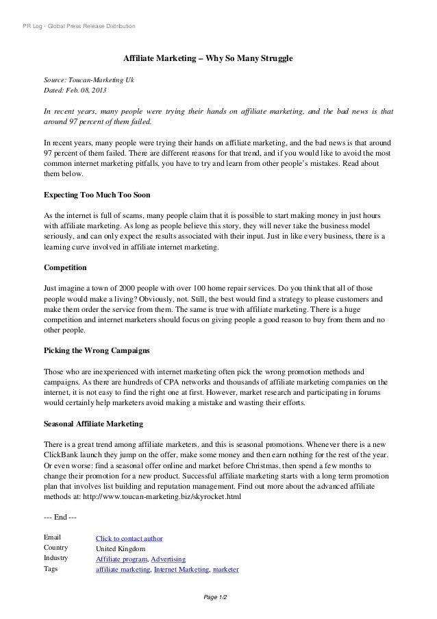 PR Log - Global Press Release Distribution                                     Affiliate Marketing – Why So Many Struggle ...