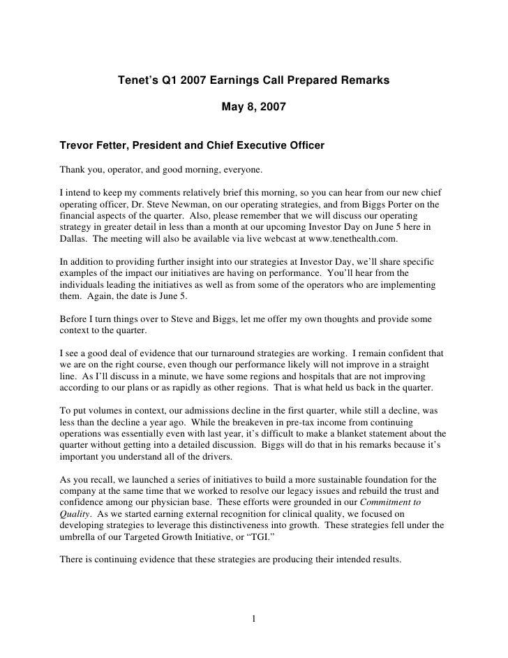 Tenet's Q1 2007 Earnings Call Prepared Remarks                                            May 8, 2007   Trevor Fetter, Pre...