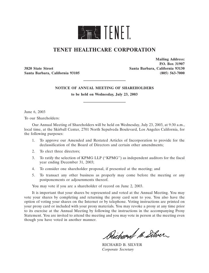 TENET HEALTHCARE CORPORATION                                                                             Mailing Address: ...