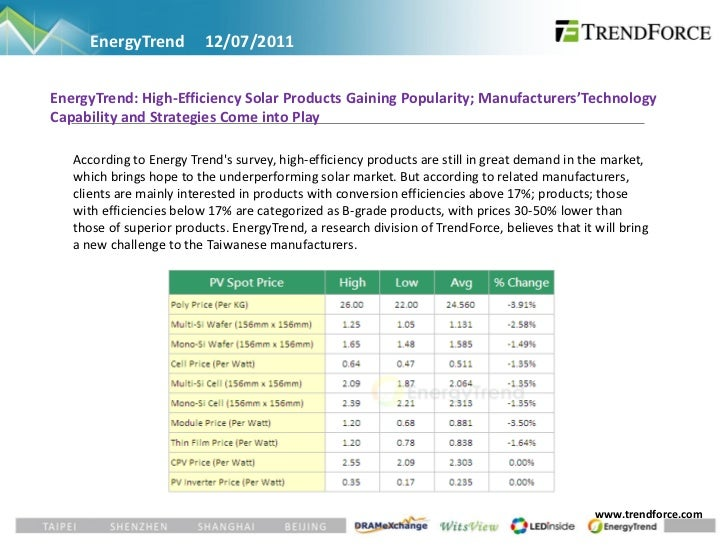 EnergyTrend         12/07/2011EnergyTrend: High-Efficiency Solar Products Gaining Popularity; Manufacturers'TechnologyCapa...