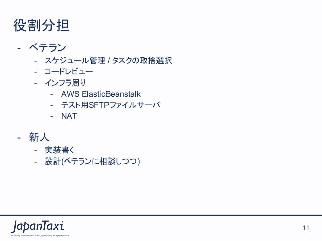 Proprietary and Confidential ©2017 JapanTaxi, Inc.All Rights Reserved 11 役割分担 - ベテラン - スケジュール管理 / タスクの取捨選択 - コードレビュー  - ...
