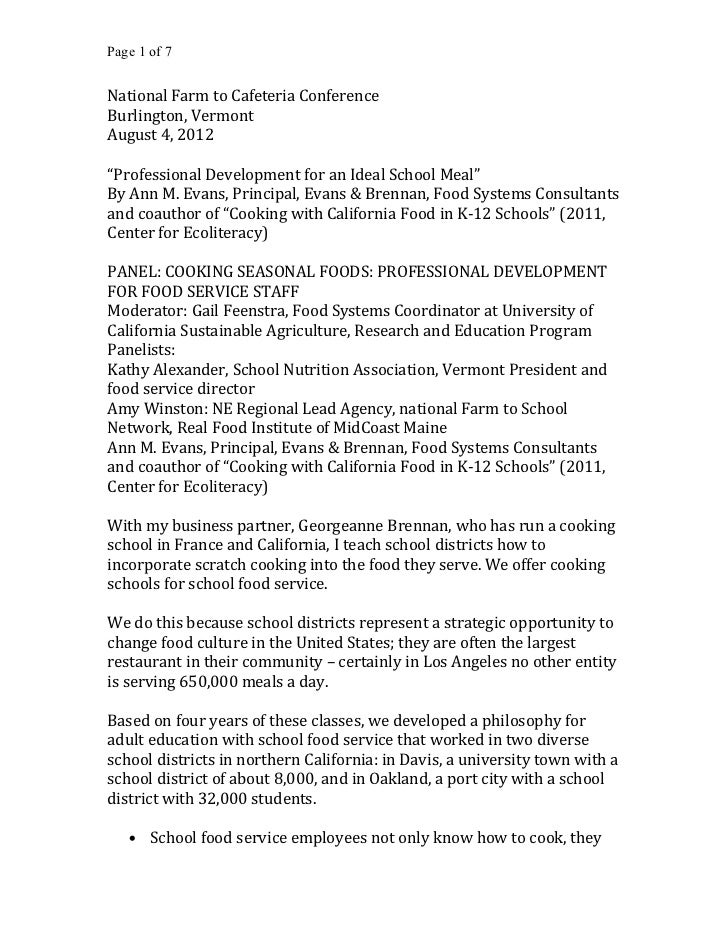 """Page 1 of 7National Farm to Cafeteria ConferenceBurlington, VermontAugust 4, 2012""""Professional Development for an Ideal Sc..."""