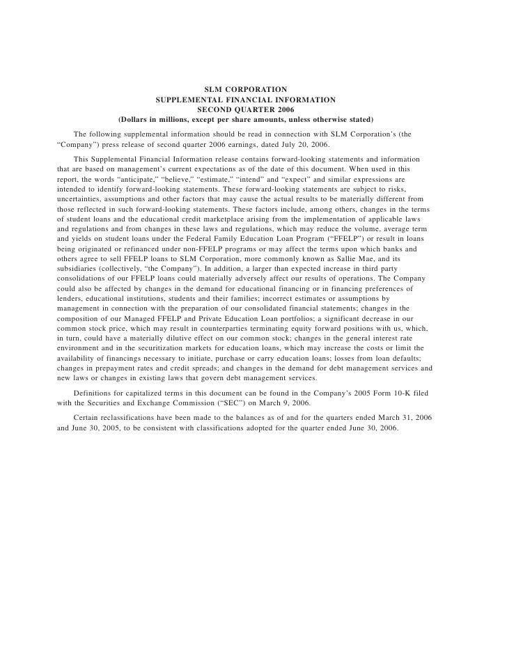 SLM CORPORATION                              SUPPLEMENTAL FINANCIAL INFORMATION                                          S...