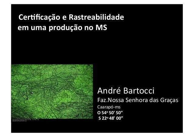 Cer/ficação e Rastreabilidade   em uma produção no MS                               André Bartocci ...