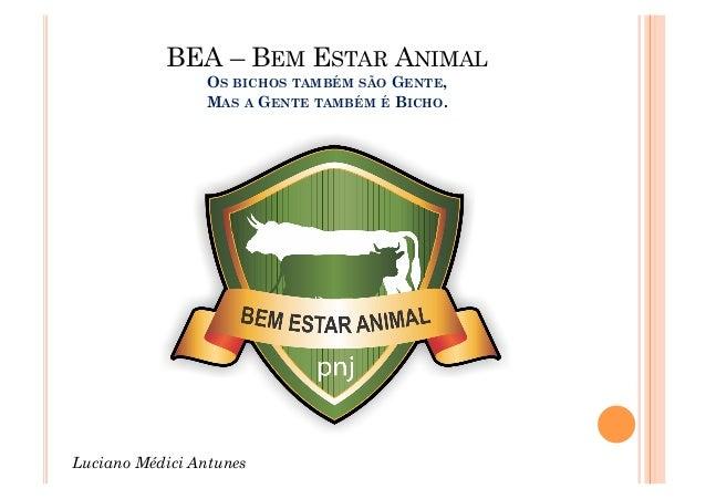 BEA – BEM ESTAR ANIMAL                OS BICHOS TAMBÉM SÃO GENTE,                MAS A GENTE TAMBÉM É BICHO.Luciano Médici...