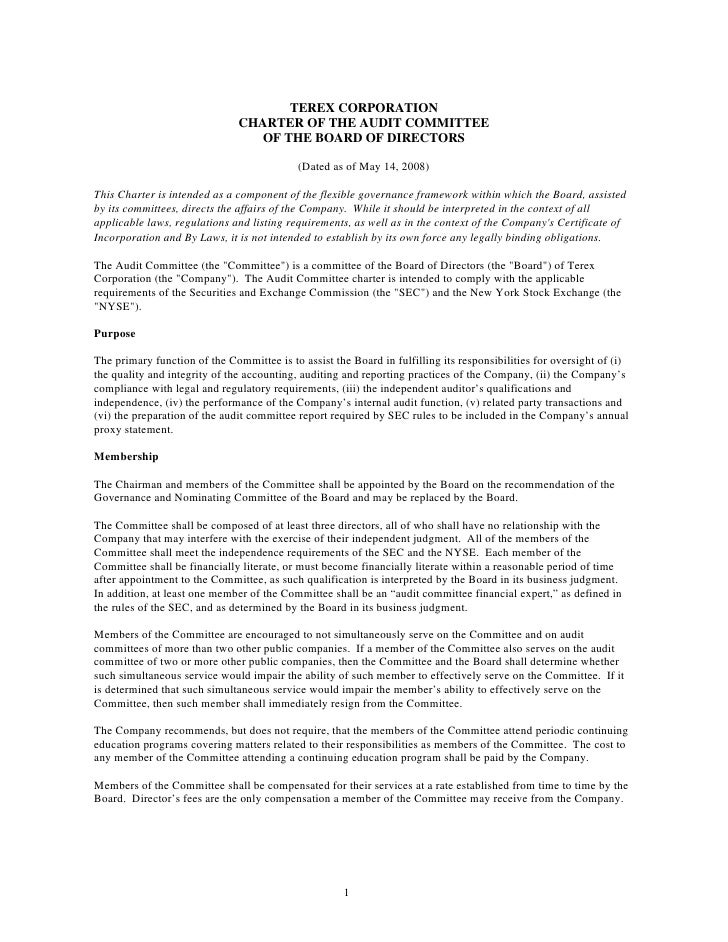TEREX CORPORATION                                CHARTER OF THE AUDIT COMMITTEE                                   OF THE B...