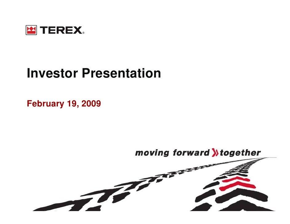 Investor Presentation  February 19, 2009