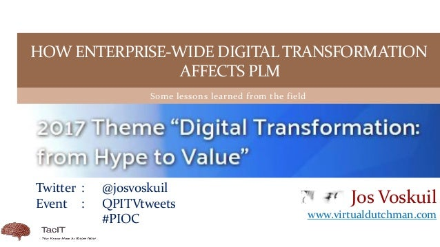 Some lessons learned from the field HOW ENTERPRISE-WIDE DIGITAL TRANSFORMATION AFFECTS PLM Jos Voskuil www.virtualdutchman...