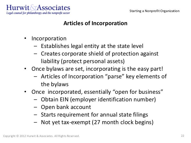 Writing and Filing the Articles of Incorporation