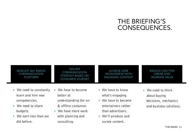 THE BRIEFING'S CONSEQUENCES.  DEVELOP 360° BRAND COMMUNICATION PLATFORM  ‣ We need to constantly learn and hire new compe...