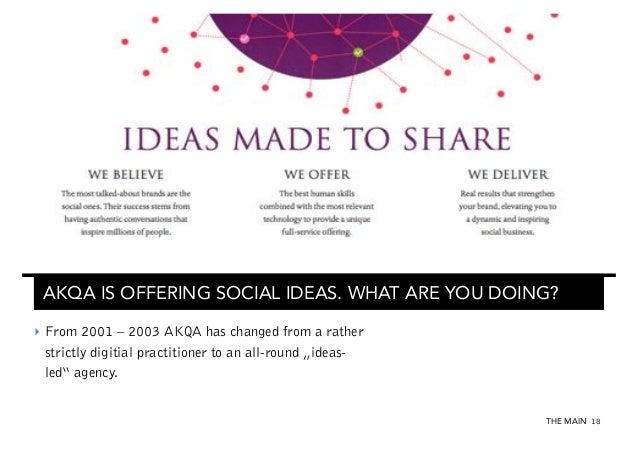 AKQA IS OFFERING SOCIAL IDEAS. WHAT ARE YOU DOING? ‣ From 2001 – 2003 AKQA has changed from a rather strictly digitial pr...