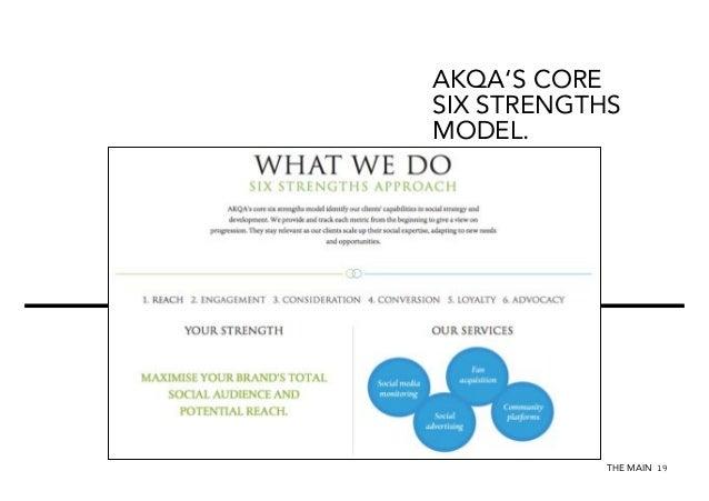 AKQA'S CORE SIX STRENGTHS MODEL.  AKQA IS FOCUSING ON SOCIAL IDEAS.  THE MAIN 19