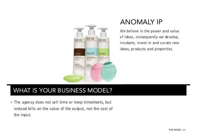ANOMALY IP We believe in the power and value of ideas, consequently we develop, incubate, invest in and curate new ideas, ...