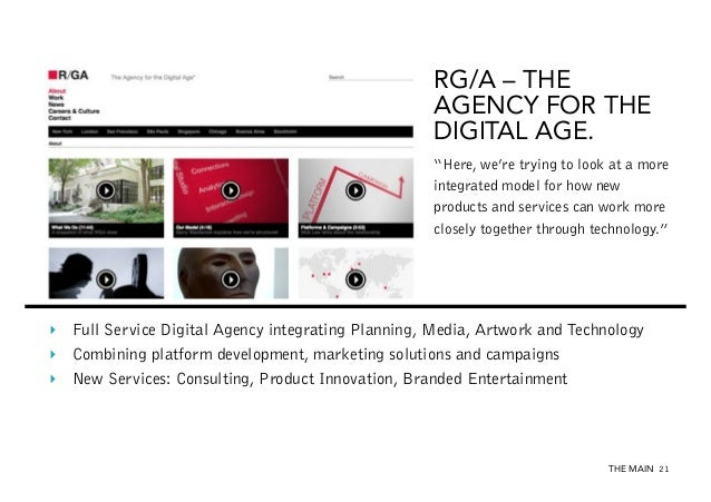 """RG/A – THE AGENCY FOR THE DIGITAL AGE. """"Here, we're trying to look at a more integrated model for how new products and ser..."""