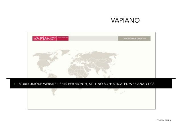 VAPIANO  ‣ 150.000 UNIQUE WEBSITE USERS PER MONTH, STILL NO SOPHISTICATED WEB ANALYTICS.  THE MAIN 8