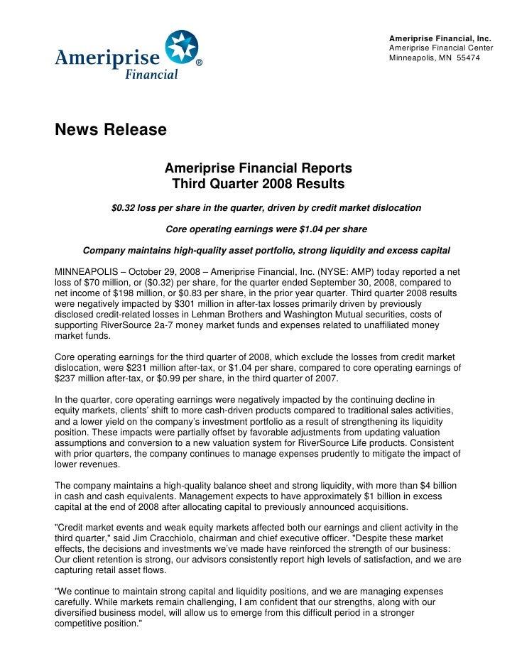 Ameriprise Financial, Inc.                                                                                      Ameriprise...