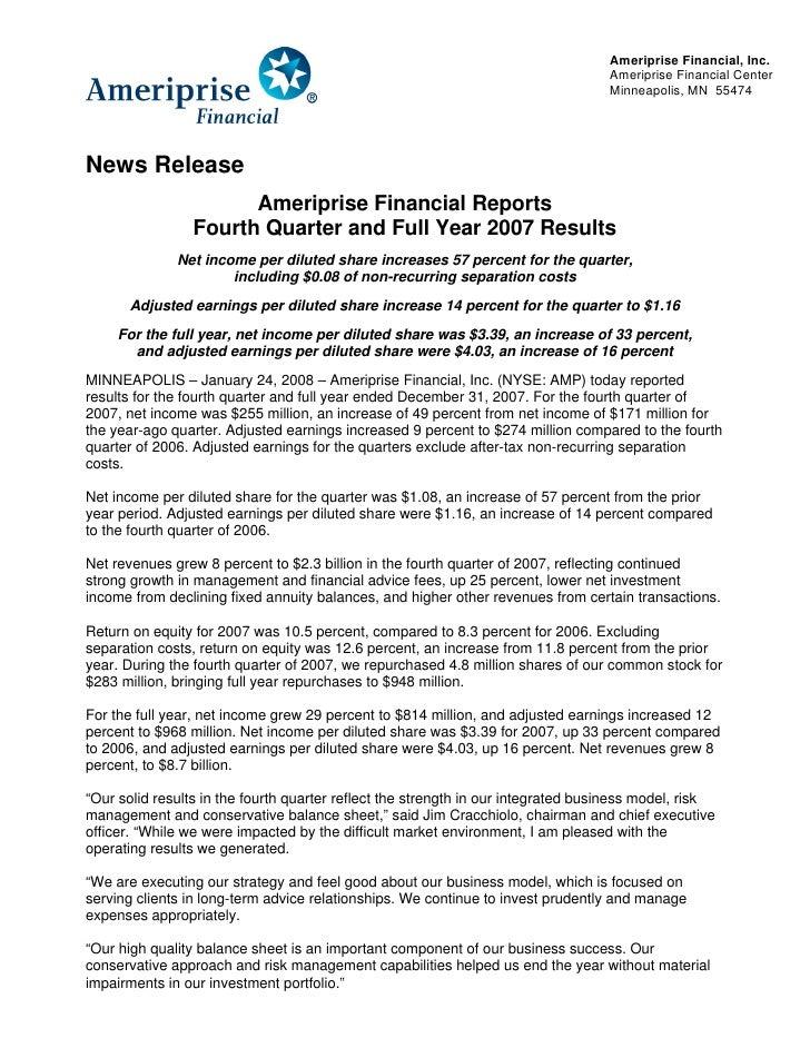 Ameriprise Financial, Inc.                                                                                    Ameriprise F...