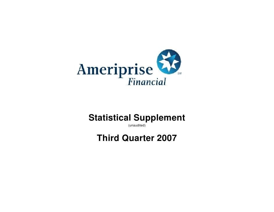 Statistical Supplement          (unaudited)     Third Quarter 2007