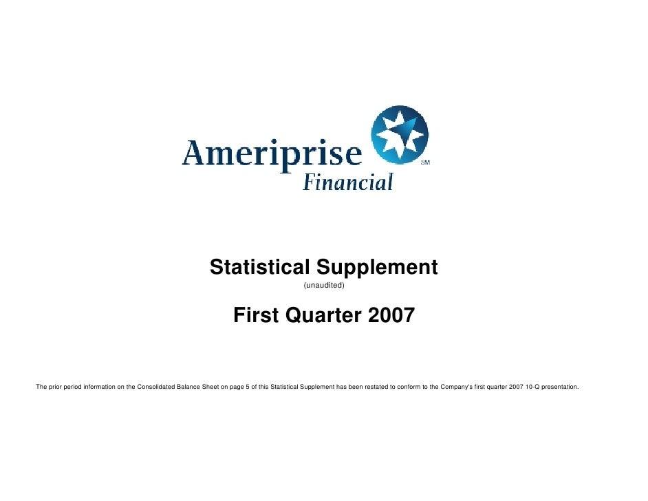 Statistical Supplement                                                                                             (unaudi...