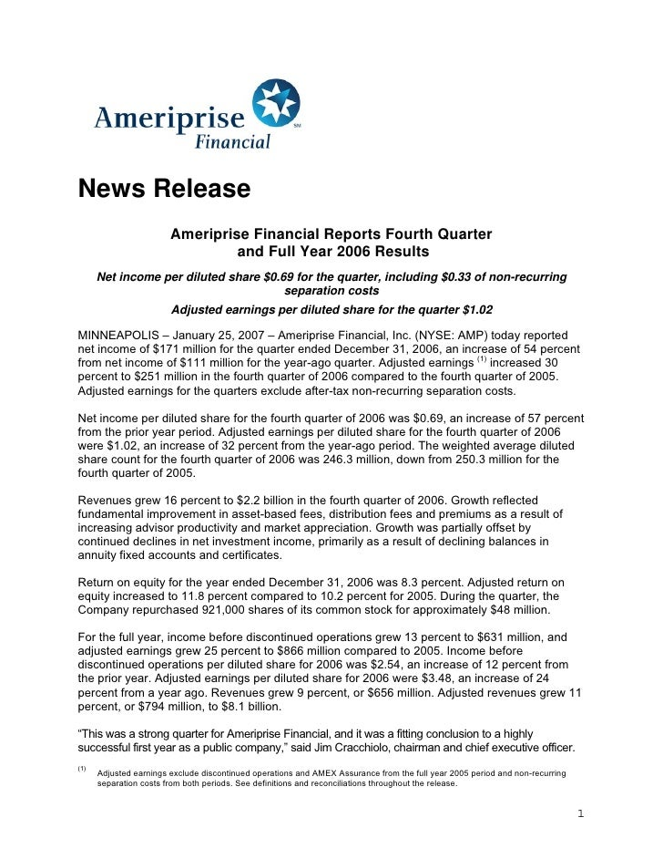 News Release                         Ameriprise Financial Reports Fourth Quarter                                  and Full...