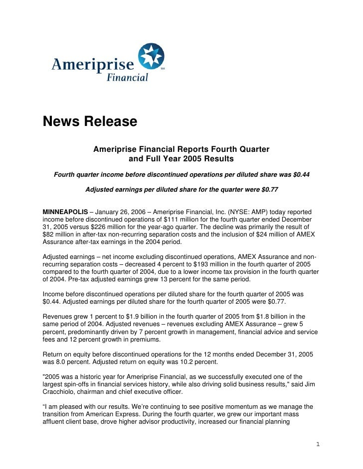 News Release                   Ameriprise Financial Reports Fourth Quarter                           and Full Year 2005 Re...