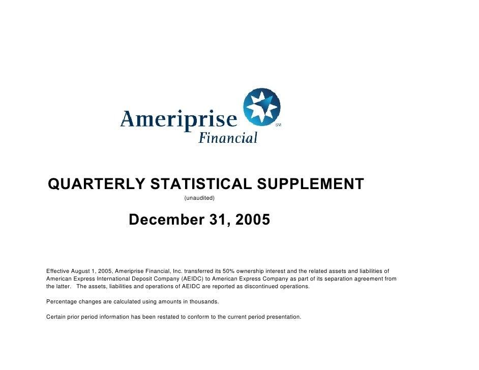QUARTERLY STATISTICAL SUPPLEMENT                                                     (unaudited)                          ...