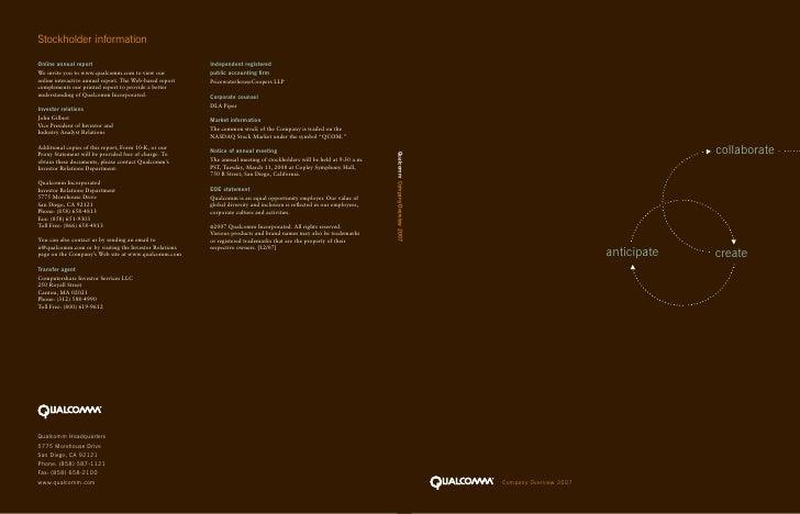 collaborate Qualcomm Company Overview 2007                                                              anticipate   creat...
