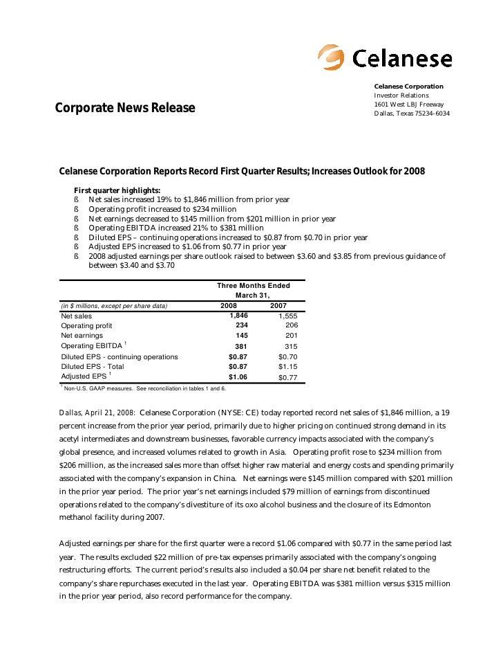 Celanese Corporation                                                                                              Investor...