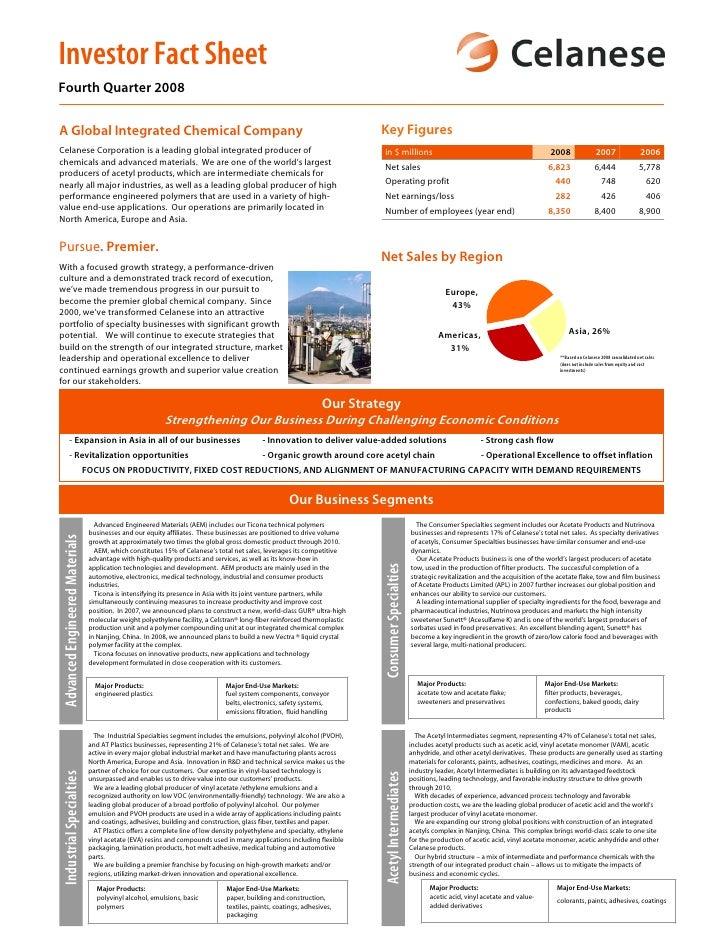 Investor Fact Sheet Fourth Quarter 2008                                                                                   ...
