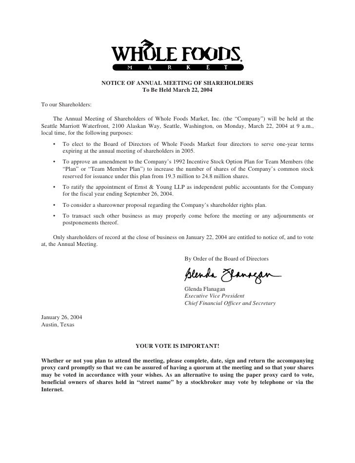 NOTICE OF ANNUAL MEETING OF SHAREHOLDERS                                     To Be Held March 22, 2004  To our Shareholder...