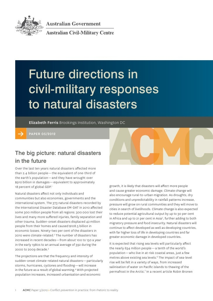 Future directions in         civil‑military responses         to natural disasters         Elizabeth Ferris Brookings Inst...