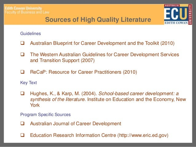 Cdaa ecu career development research topics 23 sources of high quality literature guidelines australian blueprint for career development malvernweather Choice Image