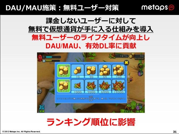 DAU/MAU施策:無料ユーザー対策                            課金しないユーザーに対して                          無料で仮想通貨が手に入る仕組みを導入                   ...