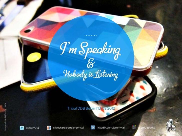 I'm Speaking                                                                      &                                       ...