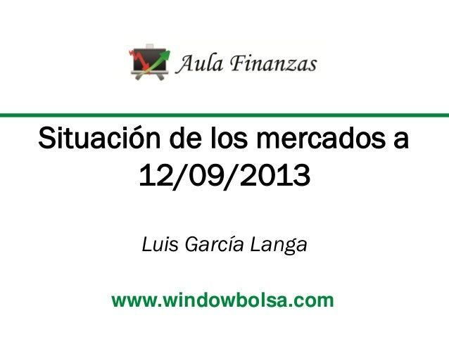 Situación de los mercados a 12/09/2013 Luis García Langa www.windowbolsa.com