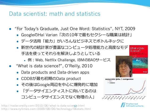 """Data scientist: math and statistics l """"For Today's Graduate, Just One Word: Statistics"""", NYT, 2009 l GoogleのHal Varian..."""