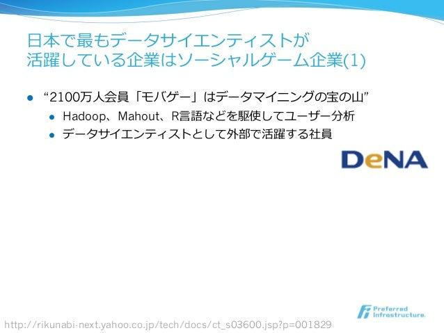 """⽇日本で最もデータサイエンティストが 活躍している企業はソーシャルゲーム企業(1) l """"2100万⼈人会員「モバゲー」はデータマイニングの宝の⼭山"""" l Hadoop、Mahout、R⾔言語などを駆使してユーザー分析 l データサ..."""