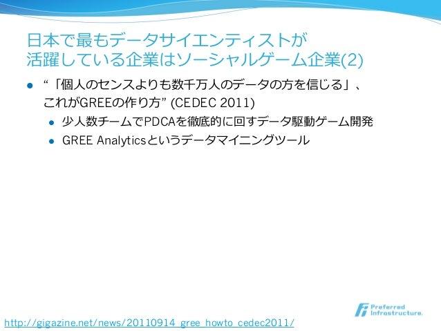 """⽇日本で最もデータサイエンティストが 活躍している企業はソーシャルゲーム企業(2) l """"「個⼈人のセンスよりも数千万⼈人のデータの⽅方を信じる」、 これがGREEの作り⽅方"""" (CEDEC 2011) l 少⼈人数チームでPDCAを徹..."""