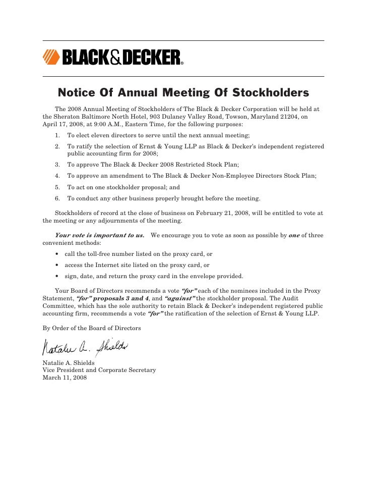 Notice Of Annual Meeting Of Stockholders     The 2008 Annual Meeting of Stockholders of The Black & Decker Corporation wil...