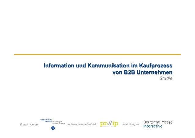 Information und Kommunikation im Kaufprozess                                              von B2B Unternehmen             ...