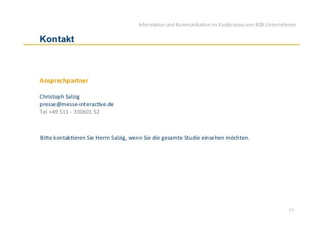 Informa)on und Kommunika)on im Kaufprozess von B2B Unternehmen Kontakt Ansprechpartner  Christoph ...