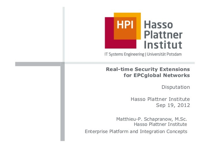 Real-time Security Extensions                for EPCglobal Networks                                Disputation            ...